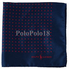 Polo Ralph Lauren Men's 100 Silk Pocket Square Blue W/ Red Dots Italy A3f