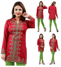 UK STOCK- Women Casual Indian Short Kurti Tunic Kurta Top Shirt Dress RED 164C
