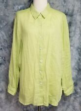 J Jill Womens sz L Lime Green Linen Long Sleeve Button Down Tunic Top