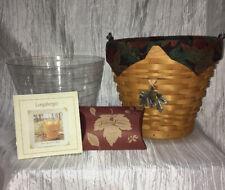 Longaberger 2002 Classic Autumn Pail Basket, Falling Leaves Liner Acorn Tie On!