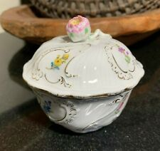 """Meissen Floral Hand Painted 3 1/2"""" Sugar Bowl w/ Rose Finial Lid  - Excellent"""