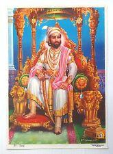 """India vintage Hindu poster SIVAJI, VIDHAYA ENTERPRISES SIVAKASI 9.6"""" x 13.5"""""""