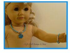 Turquoise Rose Necklace & Bracelet Set fits American Girl Doll