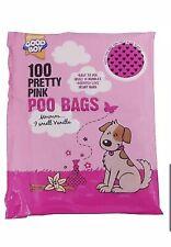 DOG POO BAG POOP SCOOP BAG 100 PINK VANILLA SCENTED EASY TO USE TIE HANDLE