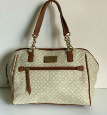 NEW! TOMMY HILFIGER OFF-WHITE IVORY BROWN BOWLER GOLD CHAIN SATCHEL TOTE BAG $89