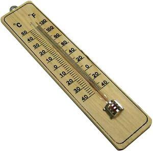 Termometro in Legno da Parete Muro Casa Temperatura C° F° DA -40° A +50