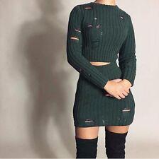 Distressed Green Two 2 Piece Mini Skirt Set Sweater Dress Kylie Jenner
