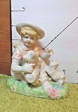 Girl Figurine With 2 Cute Playful Puppies,Ceramic, Glazed, Old?, Collectible