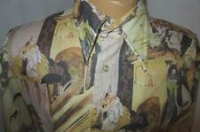 70's Vtg Hipster Funky Graphic Disco Shirt, Quintessa Media Midevil Fantasy M