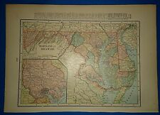 Vintage Circa 1904 Maryland Delaware Map Antique Original & Authentic Free S&H