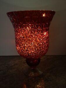 "Valerie Parr Hill Lighted Ruby Red  12"" Diamond Pattern Glass Hurricane"