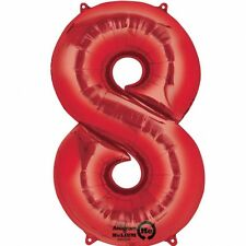 "Giant 34"" RED NUMBER 8 Jumbo Foil Helium BALLOON Birthday Party Decoration 80"