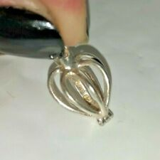 Heart Pearl Cage Pendant .925 Sterling Silver Charm Necklace No pearl included