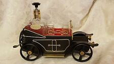 Vintge METAL Convertible Car Liquor Decanter 4 Shot Glasses Musical Lara's Theme