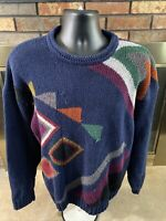 Vintage Etchings Geometric Cable Knit Sweater Mens Size Medium Cosby 90's