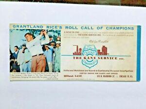 "BOBBY JONES ""golfing great""GRANTLAND RICE'S ROLL CALL of CHAMPIONS 1950s blotter"