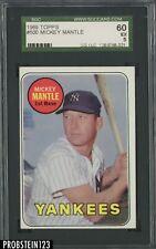 1969 Topps #500 Mickey Mantle New York Yankees HOF SGC 60 EX 5