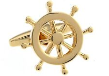Ship Wheel Pair Cufflinks Gold Yacht Wedding Fancy Gift Box & Polishing Cloth