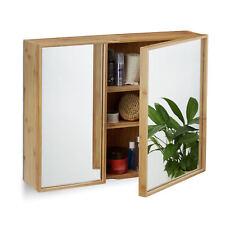 Bad Spiegelschrank zweitürig, breiter Hängeschrank, Bambus Badschrank Spiegel