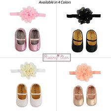 Rising Star Baby Girls Metalic Shoes and Headband Gift Set, Age 0-12M