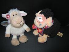 2 Schafe Nici und Wollywell Diddl weiß ca14 cm schwarz ca.13 cm  Stofftier