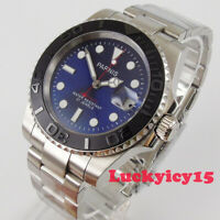 Luxury PARNIS 40mm blue dial sapphire MIYOTA 8215 Automatic movement men's watch