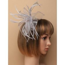 Silver Grey Looped Chiffon Fabric & Feather Fascinator on Clear Comb