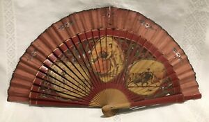 Vintage Hand Held Fan With Spanish Bull Fighting Design - Fabric And Wood