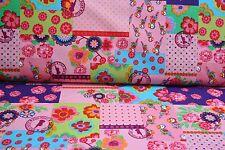 NEU.Kinder Baumwolle  Stoffe Meterware Patchwork  Rosa 25 cm Markenstoffe nr3