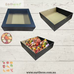 50/100 Premium Black Square Catering/Grazing/Hamper Boxes/Trays with Lids