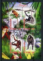 Chad 2013 CTO Monkeys Chimpanzees Orangutans 4v M/S Wild Animals Stamps