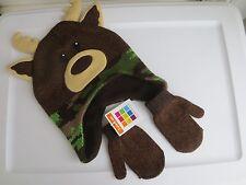 NEW Boy Toddler 3T-4T HEALHTEX Fleece Knit Winter Hat Mitten Set MOOSE Camo
