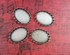 25x18mm Oxidized Silver Bezel Settings (4) - SOS2182-2 Jewelry Finding