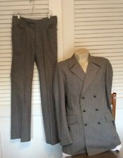Vintage Men Double Breasted Pinstripe Gray Suit