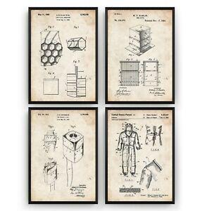 Beekeeping Set Of 4 Patent Prints - Beekeeper Poster Art Decor Gift - Unframed