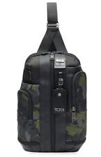 Tumi Higgins Sling Bag Crossbody Backpack Camouflage Black Leather Trim Men Gift