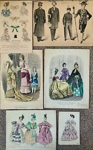 VICTORIAN FASHION PLATES x 6 / HAND COLOURED / MORNING EVENING DRESSES