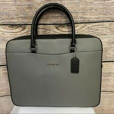 Coach Leather Black and Gray Laptop Briefcase Bag NWOT