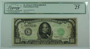 1934 $1000 One Thousand Dollar Bill DGS FRN Fr. 2211a-G Legacy VF-25 (DW)