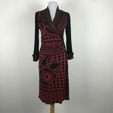 ANAC by Kimi Floral Geometric Print Wrap Dress Long Sleeves Red Black Size S
