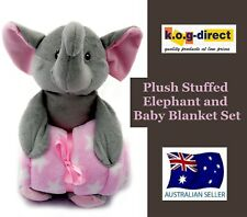 Plush Soft Toy Elephant With Detachable Super Soft Pink Baby Blanket B13