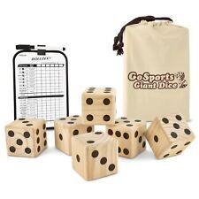 "GoSports Giant 3.5"" Wooden Playing Dice Set with Bonus Rollzee Scoreboard"