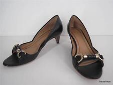 $395 HUGO BOSS 37 7 M Leather Braided Horsebit Buckle Open Toe Black Pumps Heels