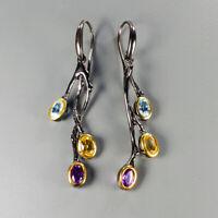 Fine art Jewelry Set Natural Citrine 925 Sterling Silver Earrings /E37798