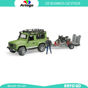 Highly Precision model Land Rover Defender Wagon Trailer Ducati and Rider 1:16