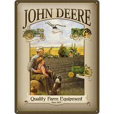 John Deere Plough Old Tractor Farming Large 3D Metal Embossed Sign