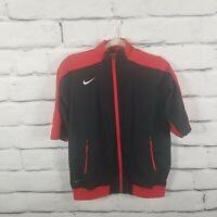 Nike Women's Large Short Sleeve Training Jacket Windbreaker Red Black Full Zip