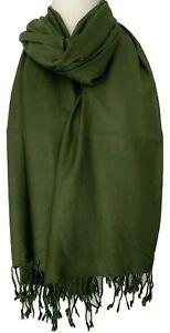 Green Scarf Ladies Plain Olive Oversized Wrap Fair Trade Tassel Trim Shawl Mens