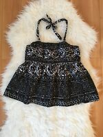 Anthropologie Tabitha Women's Black White Halter Babydoll Top Size 8