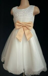 Gold Ivory Flower Girl Bridesmaid Wedding Prom Christening Party Dress 2-13y